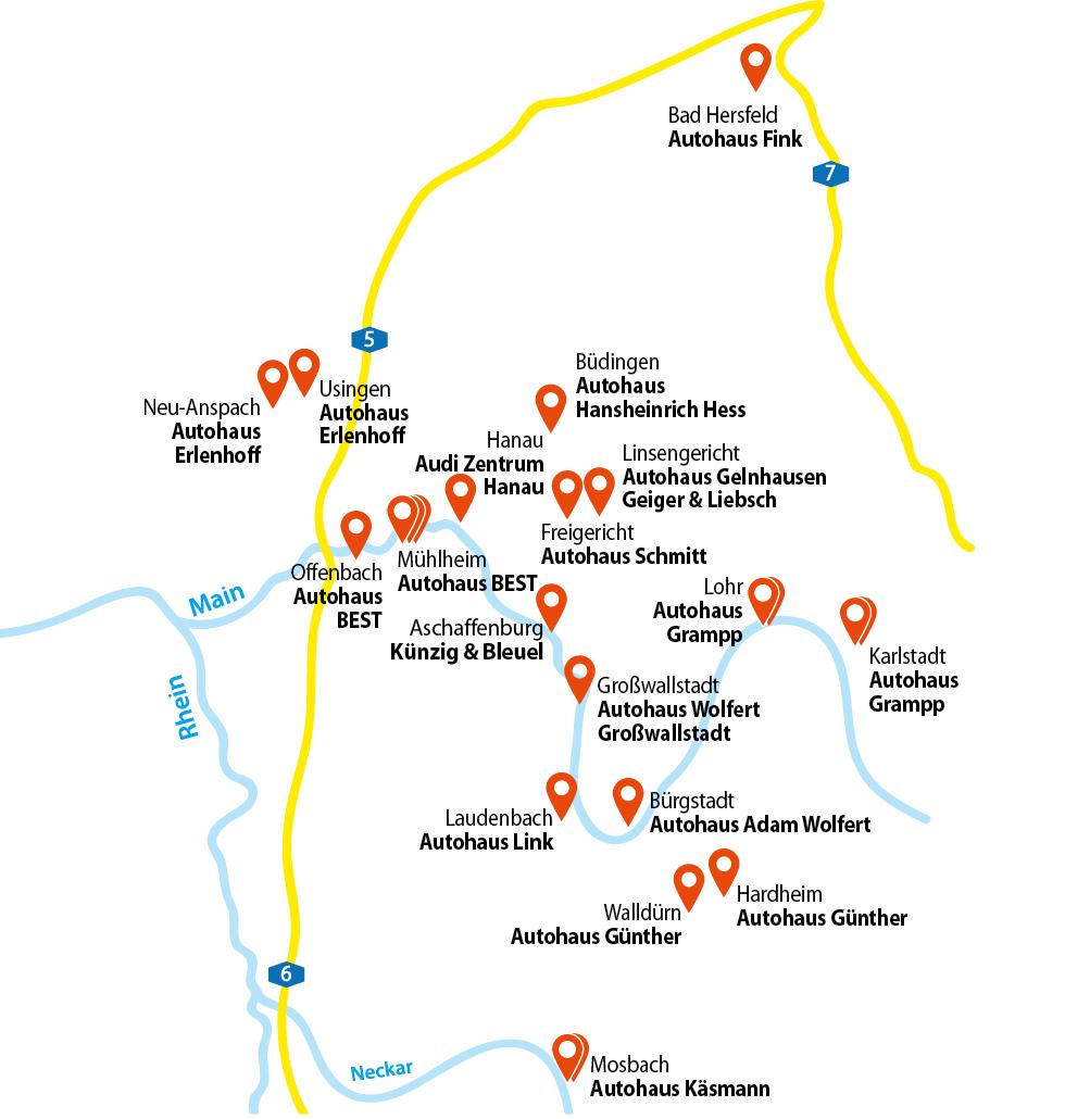 © BEST GROUP | Standortkarte | Alle Standorte im Rhein-Main-Neckar-Gebiet