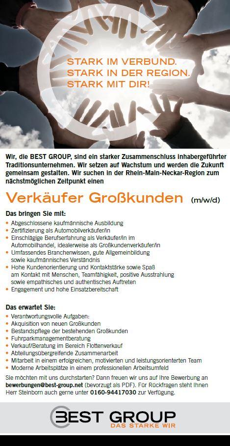 © BEST GROUP | Stelle Verkäufer Großkunden